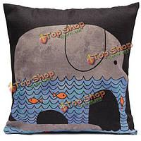 Мультфильм луна слон кита бросок наволочки подушки декор крышки домашний диван автомобиль офис