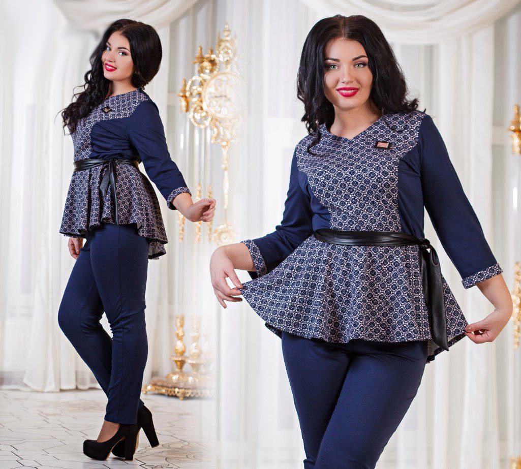 817bd647853 Женский костюм с баской тёмно-синий   продажа