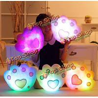 Плюшевых красочный LED легкая музыка медведь форма лапа бросить подушку домашний диван декор праздник подарок на день рождения