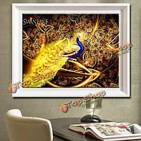 65x48см 5D DIY Золотой павлин цветы алмазов картина смолы комплект полный горный хрусталь животное вышивка крестом