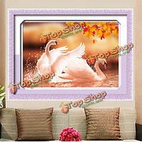 59x43см 5D DIY осень комплект любящих лебедей алмазов картина полный горный хрусталь животное вышивка крестом