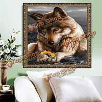 40x40см 5D DIY волк с цветком алмазов картина смолы полный набор горный хрусталь для животных крестиком