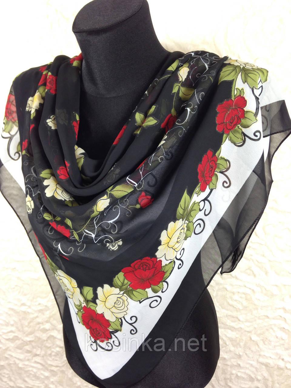 Шифоновый черный платок с красными розами и люрексом 90х90 см (цв.3)
