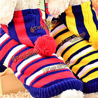 Кошка собаку моды двойной цветной полосатый свитер с зимой шляпы теплая ткань