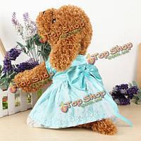 Летняя собака щенка собака кружева юбка бутон шелковые щенка принцесса платье