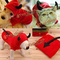Кота собаки любимчика дьявола маскарадные костюмы щенка комбинезон с капюшоном пальто