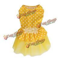 Летнее платье собака юбка щенок платье принцессы желтая точка кружева собаку юбка