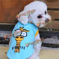 2 цвета собаки жилет хлопка мультфильм футболки большие глаза рубашки питомцев одежду