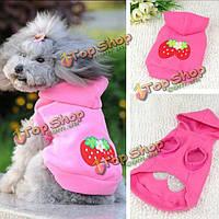 Зима кота одежд собаки собаки любимчика симпатичные клубника толстовка костюмы прикид