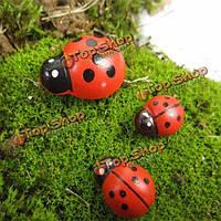 Микро пейзаж деревянный красный божья коровка дома сад озеленение декор