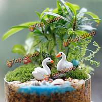Мини смола белый лебедь сад микро пейзаж DIY украшения