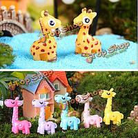 Поделки миниатюрная симпатичного жирафа украшения горшечных растений садовый декор