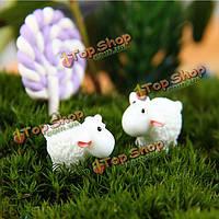 Поделки миниатюрных белых овец украшения горшечных растений садовый декор