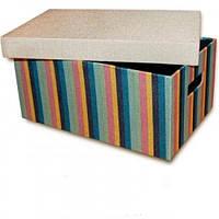 Органайзер ящик для хранения с крышкой Мульти полоски 38х26х17 см