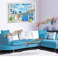 3D просмотр Windows Эгейского моря съемный стикер стены искусства деколь росписи декора дома