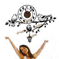 Черными отрасль птица DIY настенные часы ПВХ стикер дома живет кабинет искусство декора стены стикеры