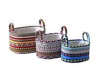 Корзина для хранения текстильная с ручками овальная 33х23х18 см