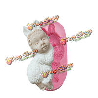 3D кролик детские fondant силикона прессформы шоколада прессформы полимерной глины