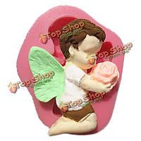 Отправка ангел цветок fondant силикона прессформы шоколада прессформы глины