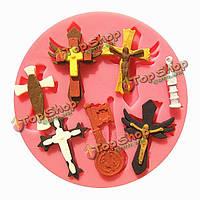 Иисус Христос крест fandant силикона прессформы шоколада прессформы полимерной глины