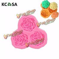 KCASA™ 3D силиконовые 3 розы цветы Fondant Cake шоколада прессформы прессформы украшения торта поделки