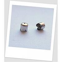 Концевик-колпачок металлический, стального цвета, 8 мм х 8 мм