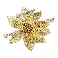 Красивый золотой пирсинг цветок принадлежности новогодняя елка украшения