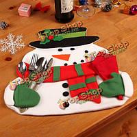 Рождественское художественное оформление ужина держателя столовых приборов подушки подставки для столовых приборов салфетки снеговика&