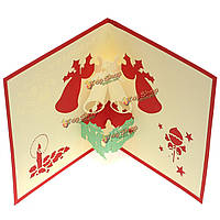 3D рождественский колокольчик поздравительной открытки ручной работы появляется пригласительный билет