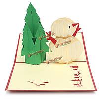 3D рождественский снеговик поздравительной открытки ручной работы появляется пригласительный билет