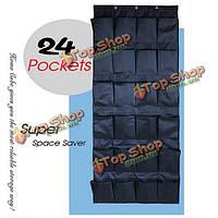 Портативный 24 карманами ткань Оксфорд двери шкафа висит сумка для хранения организатор держатель