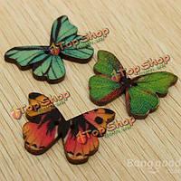 100шт смешанные деревянные пуговицы \ бабочка детская одежда-дюймов