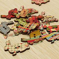 100шт форма кролика деревянные пуговицы ремесло DIY швейные аксессуары