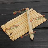 16шт бамбука свитер шарф крючком Крючки для вязания инструменты для рукоделия