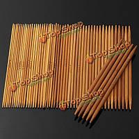 55шт 11 размеры обугленного бамбука двойной вязальные спицы шляпа свитер шарф крючком