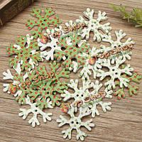 20шт деревянные рождественские кнопки снежинка DIY шитье детская одежда платье декоративная кнопка