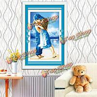 38x52см детства моря печатается синий крест поделок комплект вышивка домашний декор