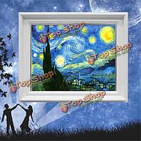 46x37см звездная ночь Ван Гог живопись поделок крест вышивка комплект домашнего декора