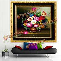 58x58см сделай сам вышитый крестиком внутренний декор ремесла набора вышивки комплекта живописи цветочной вазы