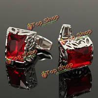 Квадрат мужчин красный кристаллический гвоздь рукава серебра рубашки иска подарка свадебной вечеринки запонок