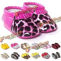 0-12 месяцев ребенок малышей кисточка кожа обувь детская кроватка мокасины мокасины мягкий леопард