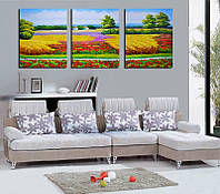 ТРИПТИХ Картины по номерам на холсте DZ-171  150х50см