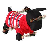 Модный полосатый питомец собака дышащая вязаные свитера и пиджаки одежда