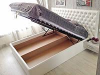 Двуспальная Кровать Beatles 160*200 с подъемным механизмом с мягким изголовьем с ромбами на заказ