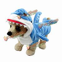 Дизайн акулы кота собаки любимчика одежды комбинезон зимний костюм голубой щенок