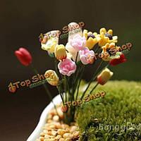 Искусственные цветы Каллалили тюльпан розовый мелких украшений мох микро пейзаж