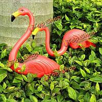2шт оформления сада искусственные красные фламинго двор пейзаж орнамент