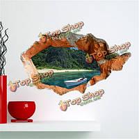 3D наклейки для стен стены отверстий съемной видом на озеро наклейки стены дома Декор подарок