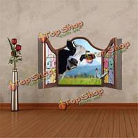 3D коровы искусственного окно просмотра скота 3D наклейки для стен наклейки домашнего декора подарок номера