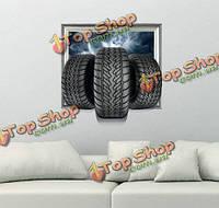 Колесо 3d стены наклейки наклейка вол съемные стикеры стены автомобиля домашний динозавр подарок декор